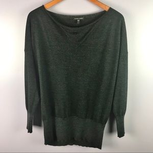 Eileen Fisher Merino Wool Small Black Smocked Top